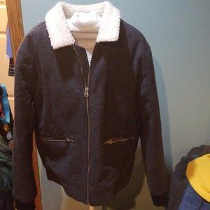 Forever 21 Wool Blend Faux Shearling Trim jacket L